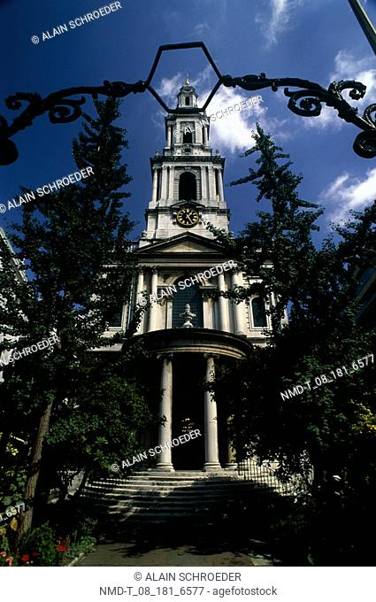 Low angle view of a church, St  Mary-le-Strand, Strand, London, England