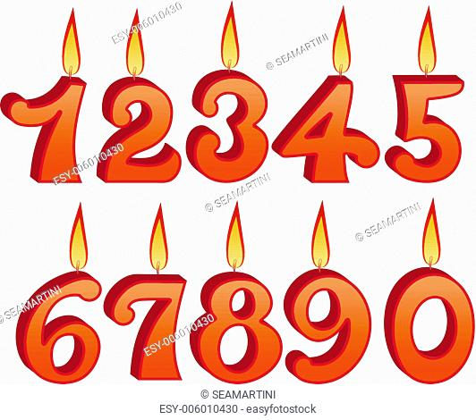 Birthday candles set with numbers and figures