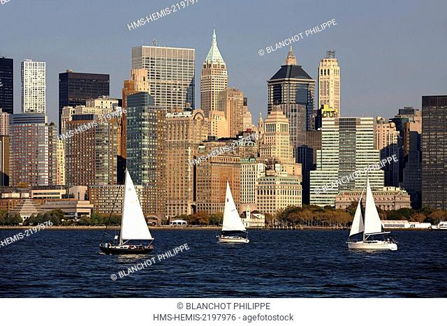 United States, New York, Manhattan, View of Lower Manhattan from Ellis Island at sunset