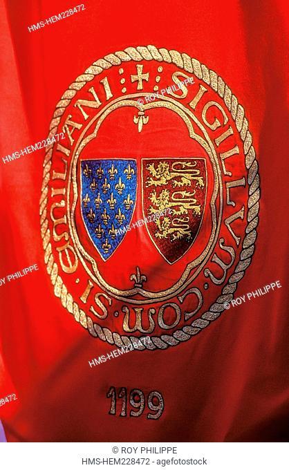 France, Gironde, Saint Emilion, Bordeaux vineyard, detail of the banner of the Jurade de Saint Emilion, wine producing brotherhood