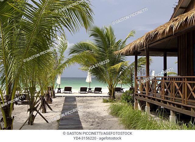 Bungalows in Sok San Beach, Koh Rong Island, Sihanoukville province, Kingdon of Cambodia