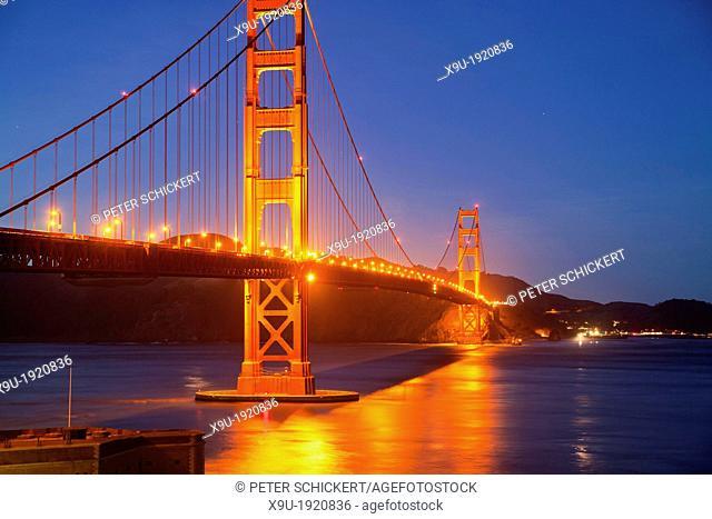 illuminated Golden Gate bridge in San Francisco, California, United States of America, USA