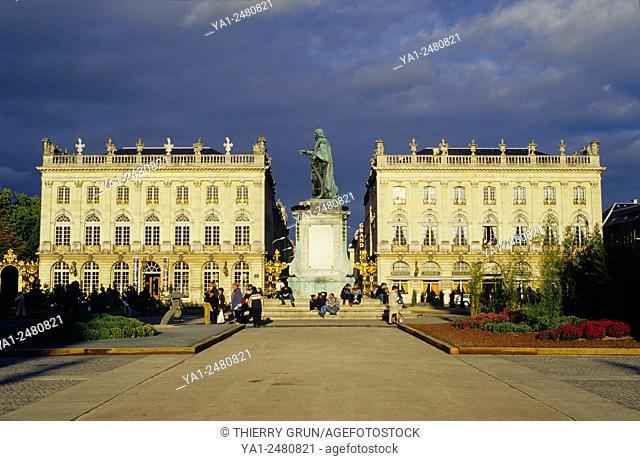 France, Meurthe et Moselle 54, Nancy town, Stanislas place Unesco world heritage site, Opera and Grand Hotel de la Reine buildings
