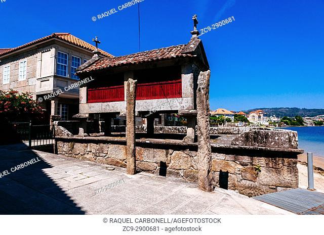 Horreos, traditional stone granaries, Combarro, Pontevedra, Galicia, Spain