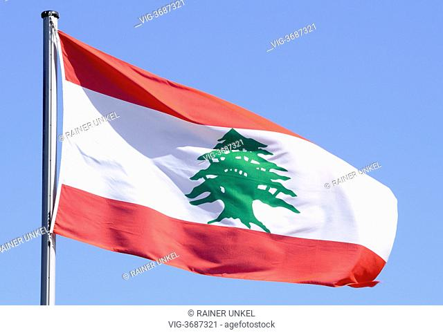 GERMANY, REMAGEN, 29.04.2013, GERMANY : Flag of Libanon - Remagen, Rhineland-Palat, Germany, 29/04/2013