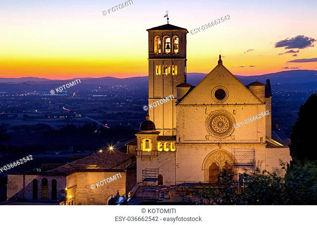 The Papal Basilica of St. Francis of Assisi at sunset (Assisi, Umbria, Italy)