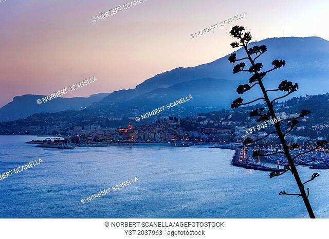 Europe, France, Alpes-Maritimes, Menton. The bay of Menton at twilight
