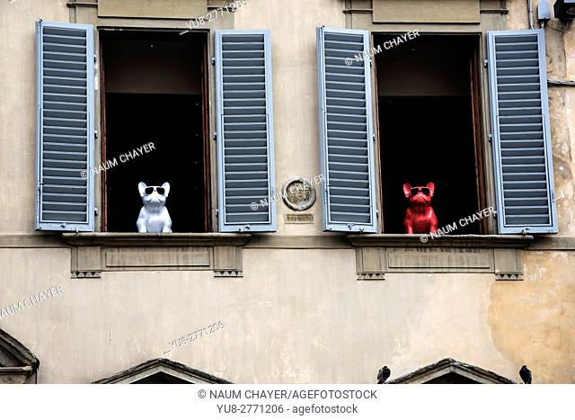 Funny toys dogs in the windows, Florence, capital of Tuscany region, Italy