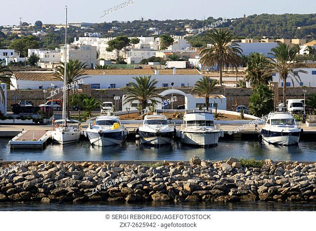 Boats, ships, port, La Savina, Formentera, Pityuses, Balearic Islands, Spain, Europe