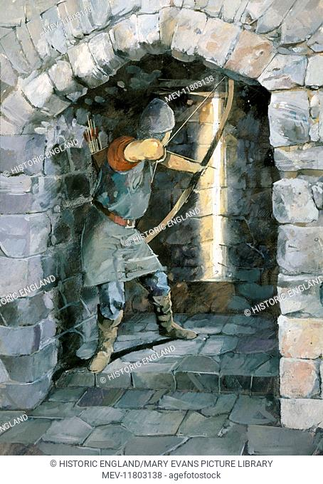 BEESTON CASTLE, Cheshire. Reconstruction drawing by Ivan Lapper. Archer firing arrow through arrow slit