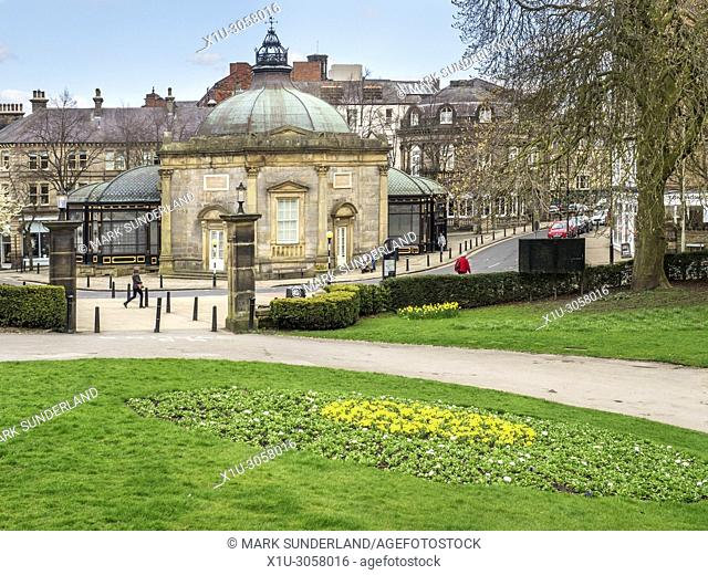 The Royal Pump Room Museum from Valley Gardens in Harrogate North Yorkshire England
