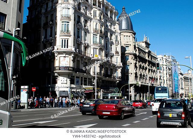 Traffic on Gran Via, Madrid, Spain