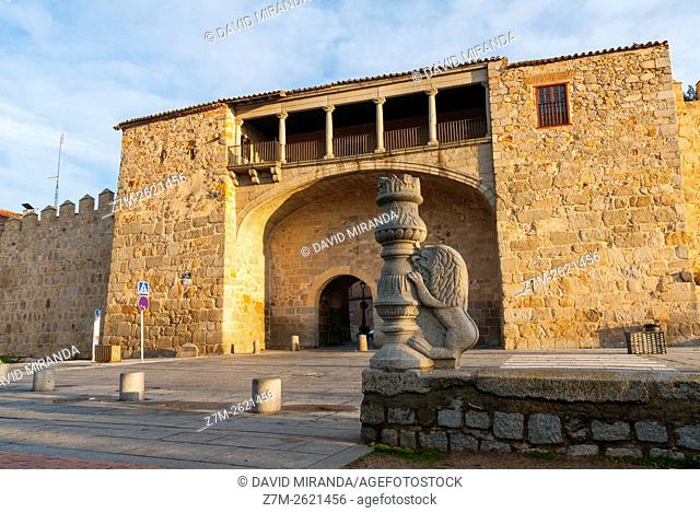 Puerta del Rastro Gate, Medieval City Walls, Avila, Castile and Leon, Spain. UNESCO World Heritage Site