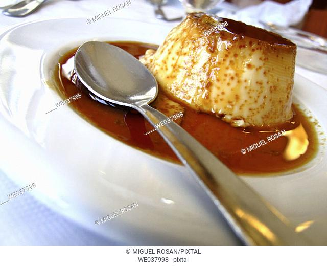 Homemade, last Flan typical dessert of the restaurant Don Baco, La Cañada. Comunidad Valenciana. Spain