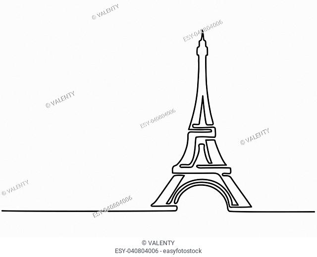 Paris Eiffel Tower icon thin continuous line drawing for web and mobile, modern minimalistic design. Vector illustration