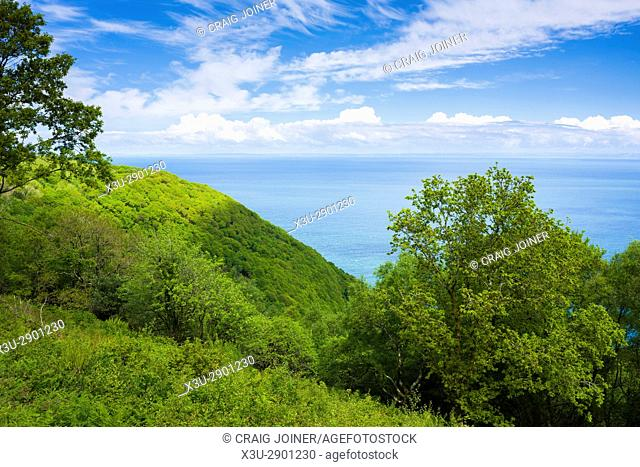 View of Woody Bay and the Bristol Channel, Exmoor National Park, North Devon, England
