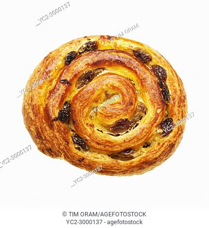 A Pain aux raisin pastry on a white background