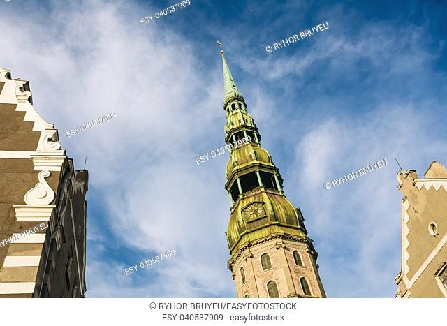 Tower of St. Peter's Church. It is a Lutheran church in Riga, the capital of Latvia, dedicated to Saint Peter. It is a parish church of the Evangelical Lutheran...