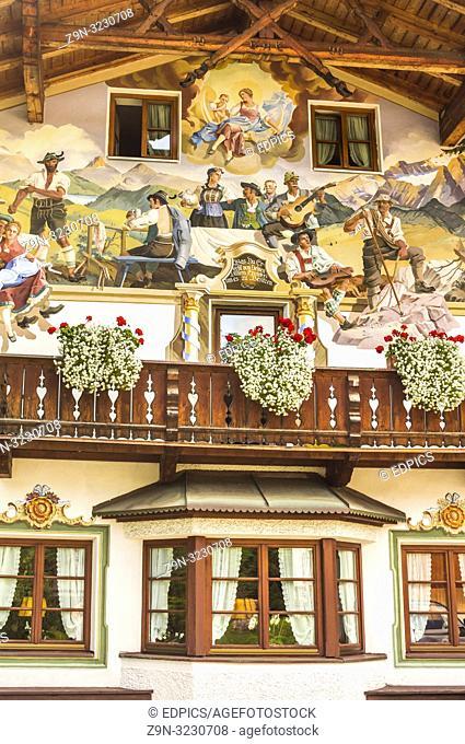 mural painting in the so-called -lueftlmalerei- style, , showing motifs of alpine popular culture, facade of -schweizer bartl inn- kaltenbrunn, bavaria, germany