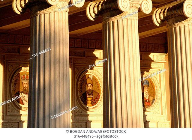 Bucharest, Romania - Front colonnade of the Athenaeum (classical music concert hall) one of the places where George Enescu's festivals are organized