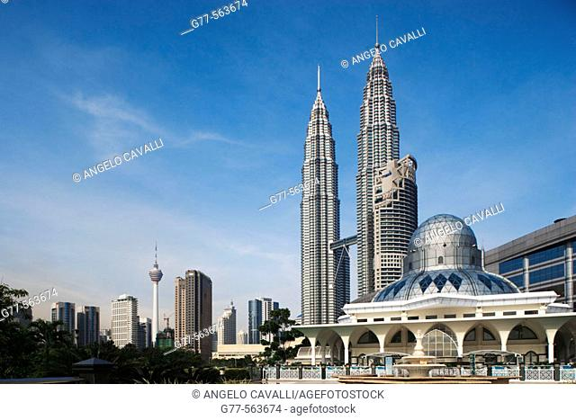 Malaysia. Kuala Lumpur. Petronas Towers and Al-Asykin Mosque