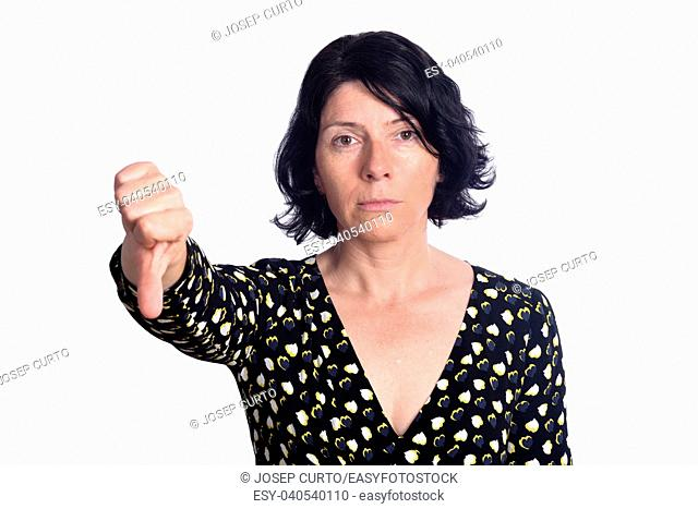 woman with thumbs down on white