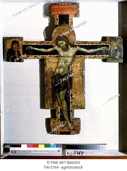 The Crucifix. Ugolino di Tedice (active 1273-1277). Tempera on panel. Gothic. c. 1260-1270. State Hermitage, St. Petersburg. 90x62. Painting