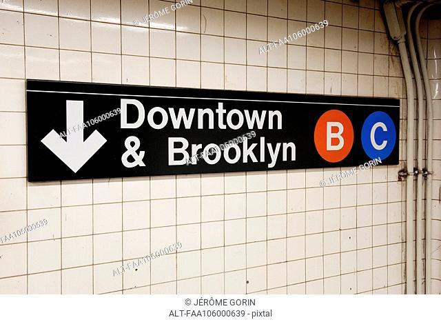 Sign in subway station, Manhattan, New York City, New York, USA