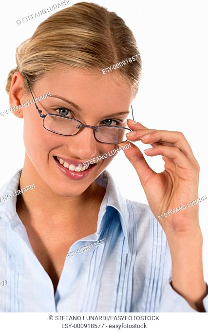 Attractive young businesswoman or student with glasses, isolated on white