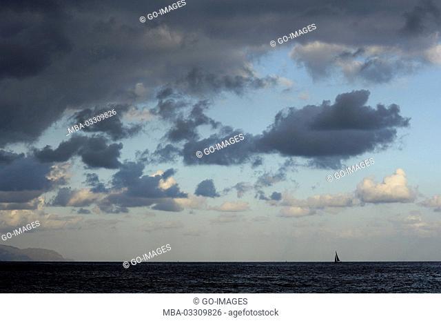 The Atlantic with sailboats, Tenerife, Spain