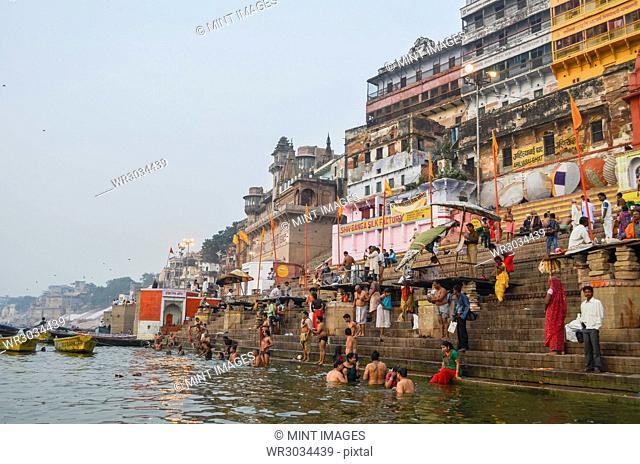 Crowds on the riverbank of the Ganges in Varanasi, India