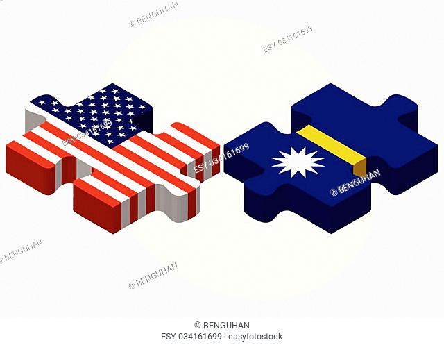 Vector Image - USA and Nauru Flags in puzzle isolated on white background