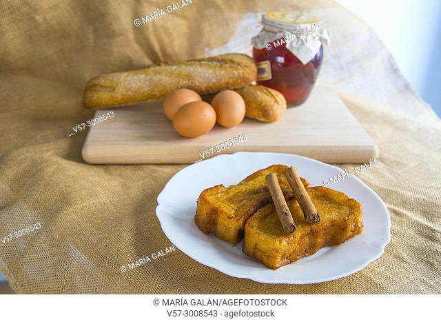 Torrijas with ingredients. Holy Week traditional cakes, Spain