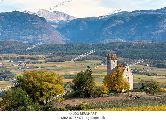 Italy, South Tyrol, Alto Adige, Überetsch, South Tyrol's South, Wine Route, Girlan, Ignaz Niedrist Winery, View of St. Michael - Eppan