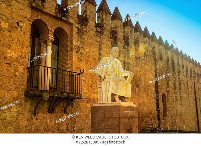 Cordoba, Cordoba Province, Andalusia, southern Spain. Statue of Averroes, Muslim polymath born in Cordoba 1126, died Marrakech, Morocco,1198