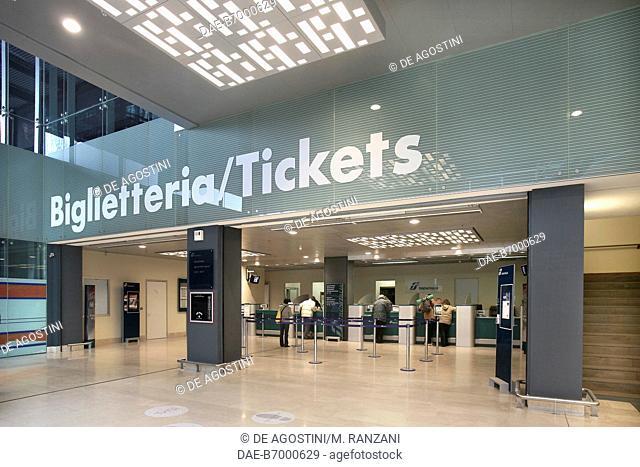 Ticket office, Milano Porta Garibaldi railway station in September 2005 after renovation, Milan, Lombardy, Italy