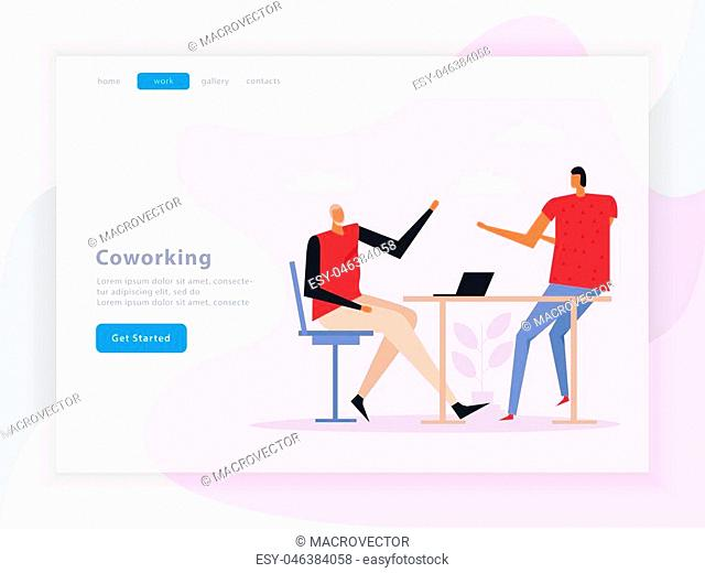 Coworking landing page with team work composition, graphic interface elements on light background flat vector illustration