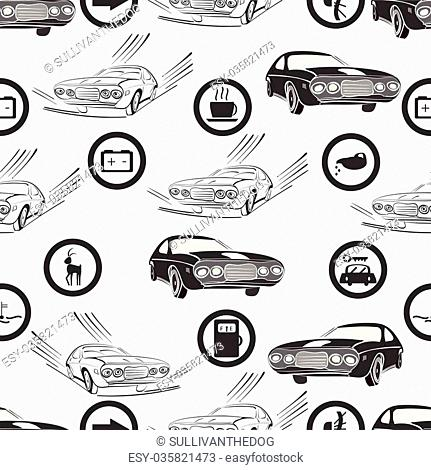 vector illustration of a seamless pattern of retro, monochrome cars and road , and service signs