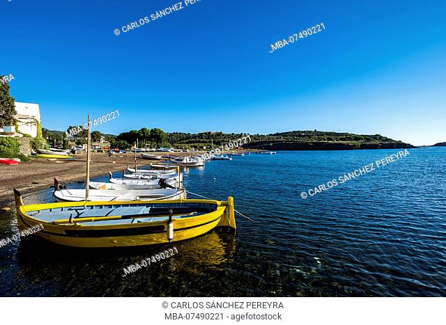Landscape and boats in the town of Portlligat, where the surrealist painter Salvador Dali lived