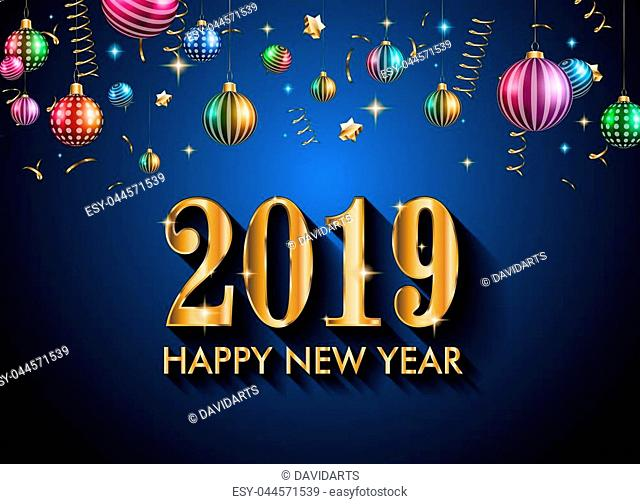 2019 Happy New Year Background for your Seasonal Flyers and Greetings Card or Christmas themed invitations