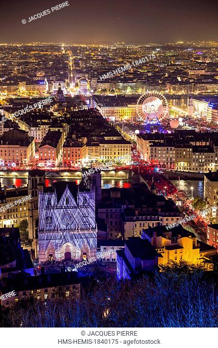 France, Rhone, Lyon, historical site listed as World Heritage by UNESCO, the Fete des Lumieres (Light Festival) with a view of the Cathedral of St