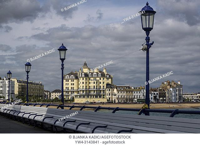 Queens Hotel at the seafront, Eastbourne, East Sussex, England, UK