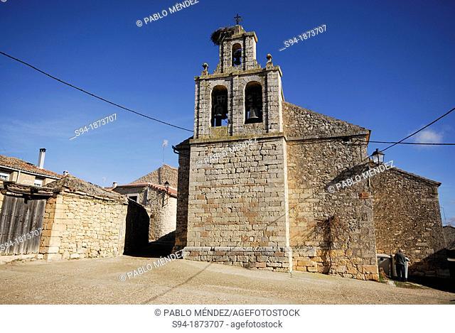 Church of San Bernabé Apostol in Castrillo de Sepulveda, Segovia province, Spain