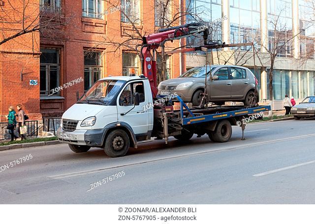 SAMARA, RUSSIA - NOVEMBER 7: Evacuation vehicle for traffic violations on November 7, 2013 in Samara, Russia