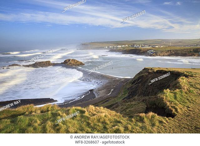The breakwater at Bude, on the north coast of Cornwall, captured from cliffs on the South West Coast Path