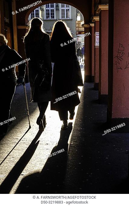 Gdansk, Poland Pedestrians walking along Kolodziejska street in the winter light