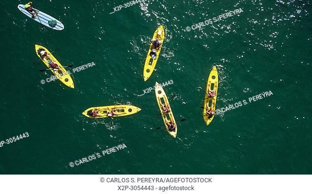 Kayak tour along the coast of Cabo San Lucas on the Baja California peninsula in northern Mexico
