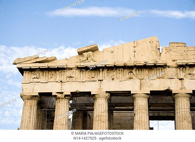Detail of the Parthenon, Acropolis, Athens, Greece