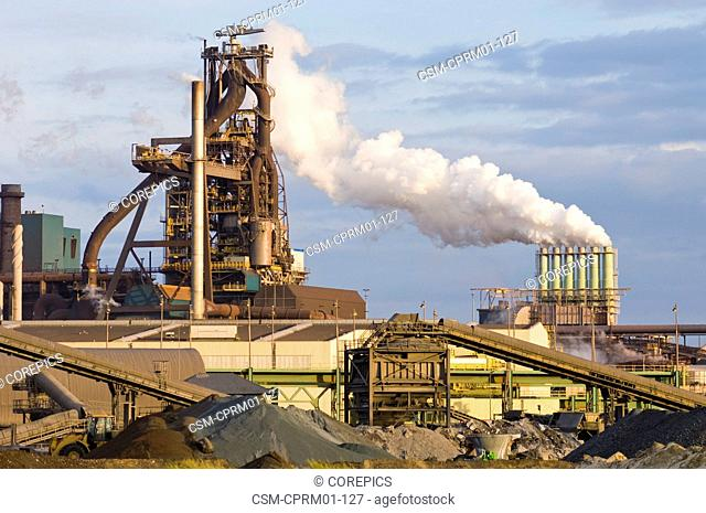 Blast furnace and cokes factory in the evening light