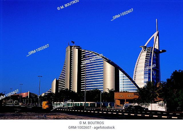Jumeirah Beach Hotel in Dubai, UAE (Burj Al Arab in the background)
